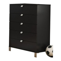 South Shore - South Shore Affinato 5 Drawer Chest in Solid Black Finish - South Shore - Chests - 3270035 - With its solid black finish and sleek, clean lines, the spacious South Shore Affinato Chest will enhance any kids bedroom. Fitted with elegant angled metal handles and front metal legs, this superb chest offers five practical drawers for ample storage. Add contemporary charm to your kid's bedroom with the Affinato Chest.