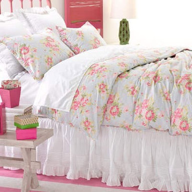 Pine Cone Hill Bella Blue Duvet Cover - I love the pretty mix of light-blue and pink roses on this duvet. It's just begging to be in a little girl's room.