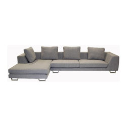 """Wholesale Interiors - Tybalt Twill Sectional - The Tybalt twill 2-piece sofa set adds versatility and contemporary style to your home furniture collection. Elegant twill fabric removable covers blends with any home decor. Its perfect combination of quality craftsmanship with simple and sophisticated designs will instantly enhance your living space. Features: -Set included with a sofa and chaise. -Upholstered in grey twill. -Frame constructed in sturdy wood. -Lateral rubber spring support system and high density foam cushioning. -Back has a sturdy rubber lattice support. Dimensions: -Overall dimensions: 33"""" H x 140.5"""" W x 67.5"""" D. -Seat dimensions: 81"""" W x 22"""" D. -Arm dimensions: 10"""" W."""