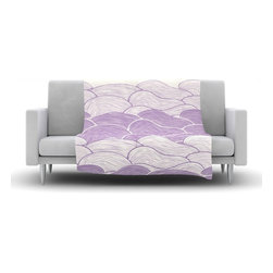 """Kess InHouse - Pom Graphic Design """"The Lavender Seas"""" Purple Waves Fleece Blanket (60"""" x 50"""") - Now you can be warm AND cool, which isn't possible with a snuggie. This completely custom and one-of-a-kind Kess InHouse Fleece Throw Blanket is the perfect accent to your couch! This fleece will add so much flare draped on your sofa or draped on you. Also this fleece actually loves being washed, as it's machine washable with no image fading."""