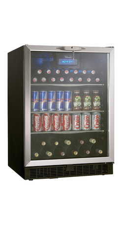 Danby - 5.3 Cu.Ft. Beverage Center - Generous 5.3 cu. ft. capacity suitable for 110 beverage cans in addition to 11 bottles of wine. Boasts 3-frosted glass adjustable shelves, an all black interior and stainless steel door trim. The tempered glass door is designed to minimize harmful UV light. Danby's Cool Blue LED lighting system provides enhanced display lighting for the interior without the heat of traditional incandescent bulbs that can warm stored contents. The interior front mount blue LED thermostat can be set between 40 degree F - 64 degree F (4 degree C - 18 degree C). A discreet integrated door lock will keep the contents secure and the reversible door swing provides the option of a left or right hand opening. A unique fan forced interior cooling system better maintains the desired set temperatures in comparison to conventional cycle defrost systems. LED Display.