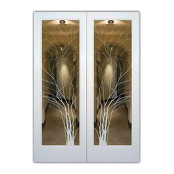 """Interior Glass Doors - Frosted Glass - Wispy Tree - CUSTOMIZE YOUR INTERIOR GLASS DOOR!  Interior glass doors or glass door inserts.  .Block the view, but brighten the look with a beautiful interior glass door featuring a custom frosted glass design by Sans Soucie!  ship for just $99 to most states, $159 to some East coast regions, custom packed and fully insured with a 1-4 day transit time.  Available any size, as interior door glass insert only or pre-installed in an interior door frame, with 8 wood types available.  ETA will vary 3-8 weeks depending on glass & door type........  Select from dozens of sandblast etched obscure glass designs!  Sans Soucie creates their interior glass door designs thru sandblasting the glass in different ways which create not only different levels of privacy, but different levels in price.  Bathroom doors, laundry room doors and glass pantry doors with frosted glass designs by Sans Soucie become the conversation piece of any room.   Choose from the highest quality and largest selection of frosted decorative glass interior doors available anywhere!   The """"same design, done different"""" - with no limit to design, there's something for every decor, regardless of style.  Inside our fun, easy to use online Glass and Door Designer at sanssoucie.com, you'll get instant pricing on everything as YOU customize your door and the glass, just the way YOU want it, to compliment and coordinate with your decor.   When you're all finished designing, you can place your order right there online!  Glass and doors ship worldwide, custom packed in-house, fully insured via UPS Freight.   Glass is sandblast frosted or etched and bathroom door designs are available in 3 effects:   Solid frost, 2D surface etched or 3D carved. Visit our site to learn more!"""