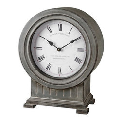 Uttermost - Uttermost 06088  Chouteau Mantel Clock - Antiqued, dusty gray finish with burnished edges. quartz movement. coordinates with floor clock #06086.
