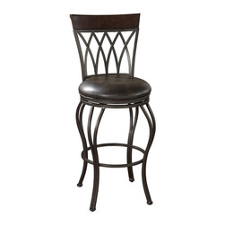 """American Heritage - American Heritage Palermo 30 Inch Bar Stool in Autumn Rust - Italian-style wrought iron with a breezy look for contemporary decors. Iron finished in pepper with 3"""" Tobacco leather cushion, a full-bearing 360 degree swivel, adjustable leg levelers, and strong Uniweld construction for long-lasting durability. What's included: Stool (1)."""