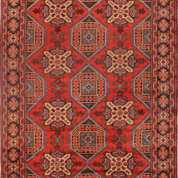 """ALRUG - Handmade Red/Rose Oriental Kargai Rug 6' 9"""" x 9' 8"""" (ft) - This Afghan Kargai design rug is hand-knotted with Wool on Cotton."""