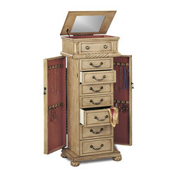 Coaster - Coaster Victorian 7-Drawer Jewelry Armoire in Antique White - Coaster - Jewelry Armoires - 5557 - The antiqued finish on this jewelry armoire makes it an exceptional fit for your shabby chic style bedroom. A subtle green tinted finish and delicate drawer pulls lend the chest an aged, lightly distressed look. Persimmon lined drawers and doors provide a plush resting place for rings, necklaces, earrings and the like and enhance the romantic charm of this jewelry chest. Carved twist details on the top are echoed in the subtle curves of the twisted bun feet, which anchor the armoire with a sturdy yet stylish base. A lid with mirrored interior reflects the rings, earrings and delicate items tucked within its lined compartments and completes the vintage appeal of this jewelry armoire.