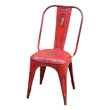 Four Hands - Rockwell Bistro Dining Chair, Dark Red - You want to dine deliciously — and responsibly. So why not decorate your space with refurbished material furniture? This delightfully distressed chair, made from salvaged iron, has a basic red or black finish sure to fit in with your eclectic decor.