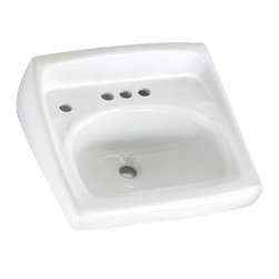 "American Standard - American Standard 0355.056.020 Lucerne Wall-Hung Sink w/ Lotion Dispenser, White - American Standard 0355.056.020 Lucerne Wall-Hung Sink With extra hole for Lotion Dispenser, White. This wall-hung lavatory is constructed of vitreous china, and includes a front overflow, a wall-hanger mounting, a D-shaped bowl, a self-draining deck area with contoured back and side splash shields, and a faucet ledge. This model comes with 4"" centered faucet mounting holes with an extra left-hand hole, and it measures 20-1/2"" by 18-1/4"", with a 6-1/2"" bowl depth."