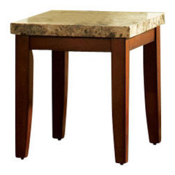 Steve Silver Furniture - Steve Silver Montibello End Table - Montibello end table belongs to Montibello collection by Steve Silver the perfect complement to any room. The Montibello marble top end table provides irresistible style and a sanctuary for all the senses. The end table features a marble top and legs wrapped in a rich cherry finish.