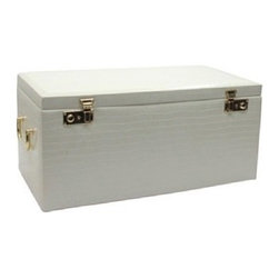 Morelle - Elizabeth Large Leather Illuminated Box, Cream. - Store your entire collection of jewelry inside this luxurious leather jewelry chest. With its sixteen separate drawers and oodles of compartments, you are sure to find a special niche for each one of your jewelry collectables and trinkets. Includes a generously sized jewelry roll for your travel convenience. A lovely mirror and pocket on the inside lid adds a touch of sophistication. Behold this majestic jewelry box. Upon opening its lid a wonderful surprise awaits you. Newly patented stage like LED lighting will illuminate your jewels, and make them sparkle.