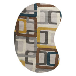 Surya - Hand Tufted Forum Wool Rug FM-7159 - 6' x 9' Kidney - Bright and bold Retro colors combined with dramatic linear designs give the rugs of the Forum Collection a unique style. Hand Tufted in India from 1% Wool these rugs are soft to the touch while exciting to the eyes. The vivid color combinations and striking patterns make these rugs ideal for contemporary spaces.