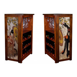 "Kelsey's Collection, Inc. - Toyokuni Wine Cabinet Umbrella Shield - Pine Wine Cabinet  stores wine and glassware with famous artwork by Ukiyoye artist Toyokuni (Kunisada) giclee-printed on canvas side panels. The art is giclee printed on canvas with three coats of UV inhibitor to protect against the sunlight and thereby extend the longevity of the art. The canvas is then glued onto panels and inserted into the frames. Kelsey's Wine Cabinet showcases and stores wine and glassware with solid radiata pine construction. Famous artwork is giclee-printed on canvas side panels which provide a unique decorating touch of art that enhances the product and reflects your home-decor style.  The frame, top, and racks are solid New Zealand radiata pine with a hand stained and hand rubbed rubbed medium reddish brown finish, that is then protected with a  lacquer coat and top coat.. Kelseys Collection is where ""Great Art & Function Meet""  This model is also referred to as the Jessica model. Dimensions are 33 by 22 by 12 deep.  Holds 15 wine bottles and full sized wine glasses.  Some assembly required."