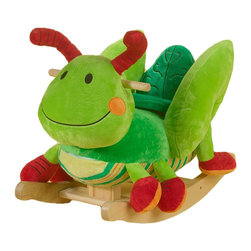 Charm Co. - George Grasshopper Rocker with Sound - Your little one will love taking rides on their own George the grasshopper. They will also get to play four fun songs over and over again. Located on the back of the head, your little rocker will find 4 colored shapes that activate original songs teaching ABC's, 123's, colors, shapes and more. Requires two (2) AA batteries (not included).