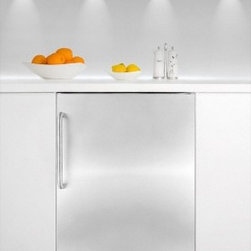 """Summit - FF6-BISSTB 24"""" 5.5 Cu. Ft. Under-Counter Built-in Capable Compact Refrigerator - SUMMIT39s FF6BISSTB all-refrigerator offers full capacity inside a slim 24 footprint designed for built-in use under counters This 24 wide unit can be used built-in or freestanding It has a white cabinet with a stainless steel wrapped door A curved t..."""