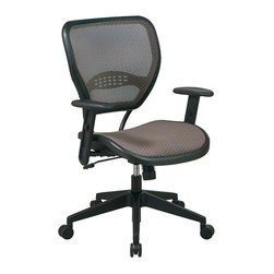 Office Star - Office Star SPACE Collection: Air Grid Mesh Back and Seat Deluxe Task Chair - Office Star - Office Chairs - 5588N15 - Long hours at task are a breeze with the Latte Air Grid Seat and Back Task Chair from Office Star. This chair offers the individual exceptional seated comfort with its air grid ventilated back panel with lumbar support bar and a generously plush fabric seat. Pneumatic seat height adjustment adjustable height arms locking and adjustable tilt and a waterfall seat edge further the comfort-first orientation while 360 degree swivel and a 5-wheel caster base provides full freedom of movement.