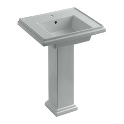 "KOHLER - KOHLER K-2844-1-95 Tresham 24"" Pedestal Lavatory w/ Single-Hole Faucet Drilling - KOHLER K-2844-1-95 Tresham 24"" pedestal lavatory with Single-Hole Faucet Drilling in Ice Grey"