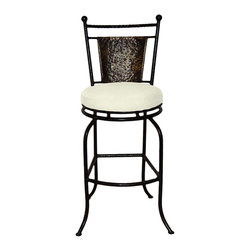 """Surf Side Patio - Fiji Swivel Bar stool, Natural, 30"""" Bar Height - Accent your breakfast bar, home bar, tiki bar or patio with the hand crafted, wrought iron Fiji Swivel Bar stool.  Made from thick guage, powder coated wrought iron, these gorgeous bar stools swivel 360 degrees and bring a tropical touch to any area of your home, indoor or outdoor."""