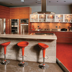 Crystal Cabinets - Cabinetry with tall pull-out storage and wide drawers. Wall cabinets feature style B aluminum frame tip up doors with frosted glass.