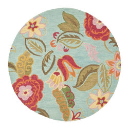 Safavieh - Safavieh Blossom Country and Floral Hand Hooked Wool Rug X-R6-A576MLB - 100% pure virgin wool pile, hand-hooked to floral designs with neutral tones. This collection is handmade in India exclusively for Safavieh.