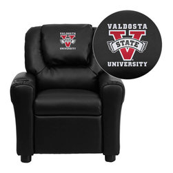 "Flash Furniture - Valdosta State University Blazers Black Leather Kids Recliner with Cup Holder an - Get young kids in the college spirit with this embroidered college recliner. Kids will now be able to enjoy the comfort that adults experience with a comfortable recliner that was made just for them! This chair features a strong wood frame with soft foam and then enveloped in durable leather upholstery for your active child. This petite sized recliner is highlighted with a cup holder in the arm to rest their drink during their favorite show or while reading a book. Valdosta State University Embroidered Kids Recliner; Embroidered Applique on Oversized Headrest; Overstuffed Padding for Comfort; Easy to Clean Upholstery with Damp Cloth; Cup Holder in armrest; Solid Hardwood Frame; Raised Black Plastic Feet; Intended use for Children Ages 3-9; 90 lb. Weight Limit; CA117 Fire Retardant Foam; Black LeatherSoft Upholstery; LeatherSoft is leather and polyurethane for added Softness and Durability; Safety Feature: Will not recline unless child is in seated position and pulls ottoman 1"" out and then reclines; Safety Feature: Will not recline unless child is in seated position and pulls ottoman 1"" out and then reclines; Overall dimensions: 24""W x 21.5"" - 36.5""D x 27""H"