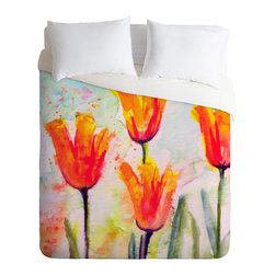 DENY Designs - Ginette Fine Art Tulips Bells Of Spring Duvet Cover - Turn your basic, boring down comforter into the super stylish focal point of your bedroom. Our Luxe Duvet is made from a heavy-weight luxurious woven polyester with a 50% cotton/50% polyester cream bottom. It also includes a hidden zipper with interior corner ties to secure your comforter. it's comfy, fade-resistant, and custom printed for each and every customer.