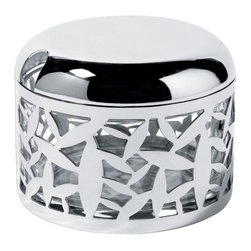 Alessi - Cactus! Cheese Cellar by Alessi - The Alessi Cactus! Cheese Cellar features a laser cut cactus design in stainless steel. The inner clear glass container is great for storing hard cheeses such as parmesan. Part of a larger collection, the Cactus! Cheeses Cellar is a handsome complement to the Cactus! Cheese Board. Alessi, known as the Italian design factory, has manufactured household products since 1921. The stylish and fun items offered are the result of contemporary partnerships with some of the world's best designers of unique and modern home accessories.