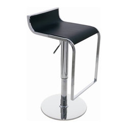 """Nuevo - Alexander Stool - Features: -Bent plywood seat with leather finish. -Steel base plate, 0.25"""", with stainless steel skin. -Hydraulic cylinder with chrome finish. -Seat height: 19"""" - 29"""". -Seat depth: 14"""". -Footrest height: 2"""" - 12"""". -Dimensions: 23""""-33"""" H x 16"""" W x 14"""" D."""