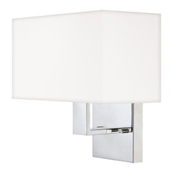 Quoizel - Quoizel Polished Chrome Sconces - SKU: REM8701C - The Remi Collection gives a nod to mod with its gleaming Chrome finish and angular arms. The square shades echo the geometric shape, which is artistically carried through on the square canopy.