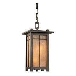 Fine Art Lamps - Capistrano Outdoor Lantern, 400880ST - Get more out of your great outdoors by filling the space with light. This large lantern frames striated champagne linen glass with a smooth bronze patina and emits a warm golden glow.