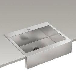 """KOHLER - KOHLER K-3935-1-NA Vault Top-Mount Single Bas Sink with Shortened Apron-Front - KOHLER K-3935-1-NA Vault top-mount single basin stainless steel sink with shortened apron-front for 30""""cabinet in Not Applicable"""
