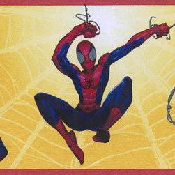 York Wallcoverings - Yellow Spiderman Kids Wallpaper Border - Everyone's favorite web-slinging hero is ready to come swinging in to rescue your child's room from dull and drab decor! The Yellow Spiderman Kids Wallpaper Border brings Spiderman to life in any room and features vivid colors that will enhance the look of every room. Spiderman is shown in his classic red and blue costume swinging on spider threads in a variety of poses that bring to mind the action-packed scenes of the comics and films. The unpasted, Prepasted Peelable-coated wallpaper is easy to wash and to strip. If only Spidey could use his superhero powers to make your son clean up his room a little!