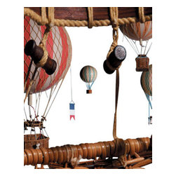 "Authentic Models - Royal Aero Large Colored Parachutes - Gliding soundlessly and effortlessly, as if in a world of their own, helium balloons have fired imaginations and appealed to a sense of romanticism. Fun and decorative, the largest of our mini-collection will travel the ceilings of the home, decorating the living room, den or nursery. Hand crafted out of paper gores and hand made woven netting, this piece will surely give you its best in elegance.   * Dimensions: 22"" Diameter x 12.6"" Height."