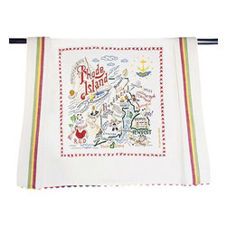 CATSTUDIO - Rhode Island State Dish Towel by Catstudio - This original design celebrates the state of Rhode Island.  This design is silk screened, then framed with a hand embroidered border on a 100% cotton dish towel/ hand towel/ guest towel/ bar towel. Three stripes down both sides and hand dyed rick-rack at the top and bottom add a charming vintage touch. Delightfully presented in a reusable organdy pouch. Machine wash and dry.