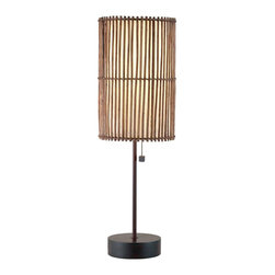 Adesso - Maui Lamp, Table Lamp - Each antique bronze Maui lamp has brown bamboo stick shade(s) lined with fabric-like white rice paper. Wooden disk base with metal stick pole. Matching round wood finial. Foot step switch. 2 X 60 Watt incandescent or 13 Watt CFL bulbs.