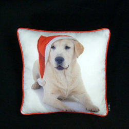 """American Mills - Holiday Yellow Lab 16 x 16 Pillow By Lava Multicolor - 46359.998 - Shop for Pillows from Hayneedle.com! About Lava PillowsCreated for American Mills Inc. by Alisa Shapard Lava Pillows flaunt a namesake derived from nature and blaze with unique modern designs and impossible-to-miss colors. Italian in origin the word lava means """"a sudden stream """" and in nature lava pillows develop as basalts erupt under water and hot rock flows into natural creations that are soon frozen by sea water. Similarly Shapard's Lava Pillows result from inspired bursts of creativity ignited with hot styles. Sure to please those seeking styles that showcase individuality Lava Pillows create a sensory experience to invigorate your space."""