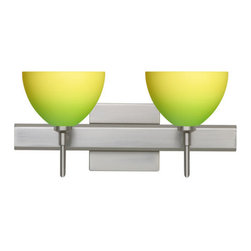 Besa Lighting - Besa Lighting 2SW-4679GY-SQ Brella 2 Light Reversible Halogen Bathroom Vanity Li - Brella has a classical bell shape that complements aesthetic, while also built for optimal illumination. Our Green/Yellow Bicolor glass combines muted green and yellow tones onto a pressed glass. This glass is rich with colors that blend and fade into one another. The soft colors have a low key harmonious display that illuminates a warm mood. The smooth satin finish on the clear outer layer is a result of an extensive etching process. This handcrafted glass uses a process where every glass is consistently produced using a press mold, keeping variations to a minimum. The vanity fixture is equipped with decorative lamp holders, removable finials, linear rectangular housing, and a removable low profile oval canopy cover.Features: