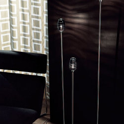 """Vistosi - Vistosi Damasco Floor Lamp PT 100 P, PT 140 P, or PT 180 P - Product Description: The Damasco floor lamp by Vistosi is designed by Paolo Crepax 2003. The lamp is created using """"Bozzolo"""" technique, which entails manually applying threads of moulded glass in a pre-shaped element in blown crystal. This beautiful lamp comes in three sizes and has been handmade on the Venetian island of Murano. Every light comes with a certificate of authenticity.  Product Description: The Damasco floor lamp by Vistosi is designed by Paolo Crepax 2003. The lamp is created using """"Bozzolo"""" technique, which entails manually applying threads of moulded glass in a pre-shaped element in blown crystal. This beautiful lamp comes in three sizes and has been handmade on the Venetian island of Murano. Every light comes with a certificate of authenticity.                         Manufacturer:             Vistosi                            Designer:                         Paolo Crepax 2003                                         Made in:            Italy                            Dimensions:                         small PT 100 P:  width:  8.7"""" ( 22 cm) height: 4.5"""" (11.5 cm) overall height: 39.4"""" (100 cm)             medium PT 140 P:  width:8.7"""" (22 cm) height: 4.5"""" (11.5 cm) overall height: 51.2""""  (130 cm)             Large PT 180 P width:10.2""""(26 cm) height: 4.5"""" (11.5 cm) overall height: 65"""" (165 cm)                                         Light bulb:                         1 x 75W G9 halogen                                         Material                         crystal, black, white, topaz, nickel"""