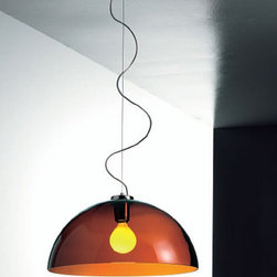 "Vistosi - Vistosi Dress SP G Pendant Light - The Dress oval pendant light by Vistosi has been designed by Studio Technico Vetreria Vistosi 2005. The orange pendant lamp adds a distinguishing flavor to the decor. This beautiful light was created on the island of Murano. Each light comes with a certificate of authenticity.  The Dress pendant light by Vistosi has been designed by Studio Technico Vetreria Vistosi 2005. The orange pendant lamp adds a distinguishing flavor to the decor. This beautiful light was created on the island of Murano. Each light comes with a certificate of authenticity. Details:                         Manufacturer:             Vistosi                            Designer:                        Studio Technico Vetreria Vistosi 2005                                         Made in:            Italy                            Dimensions:                         width: 21.3"" ( 54 cm) x height: 9.8""   ( 25 cm)               overall height: 47.2"" ( 120 cm)                                         Light bulb:                         1 x 100W Incandescent                                         Material:             orange, chrome"