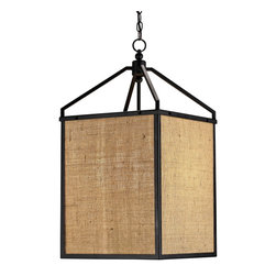 Burlap Pendant Lantern - There's something about this simple lantern that resembles a Japanese lantern. The contrast between the natrual jute and the dark wrought iron keeps things crisp and modern at the same time.