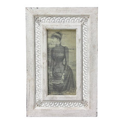 Oriental Furniture - Rustic Victorian Lady Framed Picture - Framed vintage art print of a woman in late 19th century period dress. Grayscale image has a highly detailed sketch style. Printed onto paper and set behind a durable Plexiglass display panel. Image is held into place with the back panel via tight C clips screwed into the frame. The surrounding wood frame has pierced iron filigree insert and is finished in a textured, distressed white paint. Shabby-chic art for a mixture of elegance and rustic decor. Includes brass mounting hardware on the back.