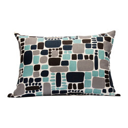 "Area Inc. - Pebbles Aqua Large Decorative Pillow 18X24"" - Area Inc. - Add a fun, bright print to your couch or bed with the 18-by-24 inch Pebbles Aqua Decorative Pillow. This pure linen pillow features softened square shapes in black, gray and turquoise on an off-white background. Includes a feather down insert. Display it against solid colors for a dramatic contrast."