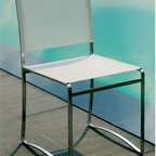 Stainless Steel Outdoor Dining Chair - Stainless steel outdoor dining side chair has Batyline seat and back.