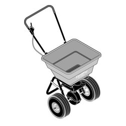 "EARTHWAY PRODUCTS - PUSH SPREADER 80 POUND - Model 2050Pc. Fully Assembled with Folding Handle, 80 Lb. High Volume Hopper, 120 Lb. Load Bearing Capacity Chassis. Commercial Gearbox, Large 4.10/3.50 X 10"" Pneumatic Wheels. Rate Setting Control For Precise Adjustments."