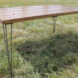 Steel Hair Pin Leg, Solid Wood Dining Table - Customizable by length, width, stain/paint colors, and more. Built by hand in the U.S. from solid wood.