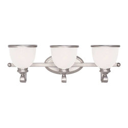 Savoy House - Savoy House Willoughby 3 Light Bath Bar in Pewter - 8-5779-3-69 - A builder's dream, versatile and polished in Pewter with White Marble glass (topped off with a pewter rim). The perfect match for today's popular stainless steel appliances.