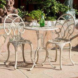 Christopher Knight Home - Christopher Knight Home Anacapa Sand Bistro Set - This three piece Anacapa bistro set features cast aluminum construction and a sand finish. With a table and two chairs,this outdoor set is perfect for your patio,balcony or garden.