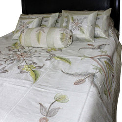 Hand Painted Floral 7-Piece Duvet Cover Set, Beige, King