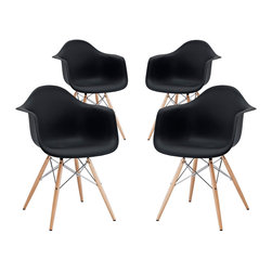 """Modway - Pyramid Dining Armchair Set of 4 in Black - Wood Pyramid Armchairs are crafted out of molded plastic for the seat and a solid wood """"pyramid"""" base. Comfortable and versatile, this chair can be used to decorate any space."""