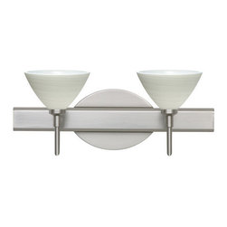 Besa Lighting - Besa Lighting 2SW-1743KR Domi 2 Light Reversible Halogen Bathroom Vanity Light - Domi has a classical bell shape that complements aesthetic, while also built for optimal illumination. Our Chalk glass is a soft white opal cased glass that is handcrafted with spiraling strokes of off-white color, emphasizing the subtle brush pattern. The silvery rippled design is subdued and harmonious. Unlit, it appears as simply a textured surface like spun silk, but when lit the texture comes alive. The smooth satin finish on the clear outer layer is a result of an extensive etching process, with the texture of the subtle brushing. This blown glass is handcrafted by a skilled artisan, utilizing century-old techniques passed down from generation to generation. The vanity fixture is equipped with decorative lamp holders, removable finials, linear rectangular housing, and a removable low profile oval canopy cover.Features: