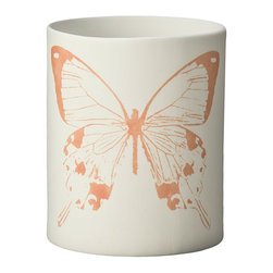 Kouboo - Butterfly Porcelain Votive Candle Holder, Print in Orange - These votive candle holders are simple yet instantly noticeable, cute decor elements of your outdoor dinner table, your coffee table or even your bathroom sink. Light the tea light inside the votive and the details of the delicately designed dragonfly will contrast against the glowing porcelain.
